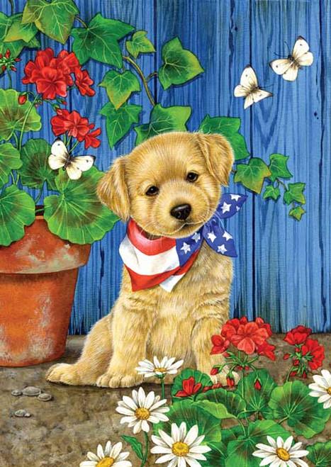 Patriotic Puppy - Garden Flag by Toland