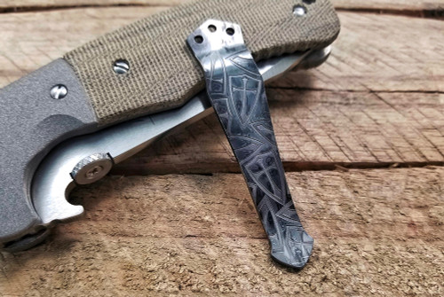 Steel Flame/Emerson Knives Etched Kaos Crusader Cross Clip in Vintage Gunmetal