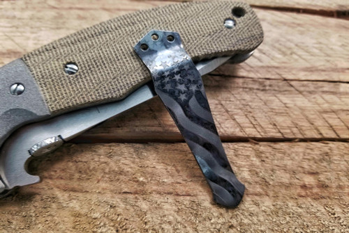 Steel Flame/Emerson Knives Etched Old Glory Clip in Vintage Gunmetal