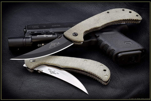 Ernest Emerson Persian Tactical Folder - Green Canvas Micarta - Black Blade & Hardware - PTACBT