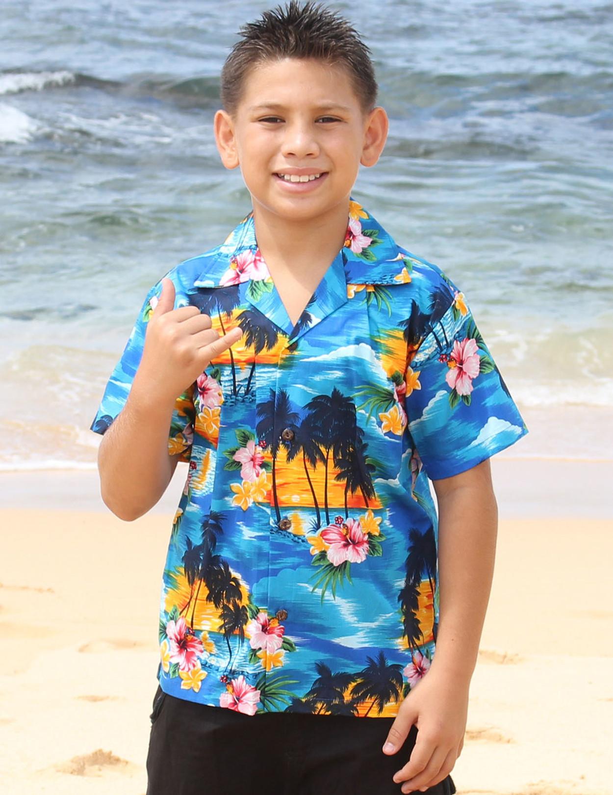 Hawaiian Island Sunset Boy\'s Hawaiian Shirts - Hawaiian Wedding Place