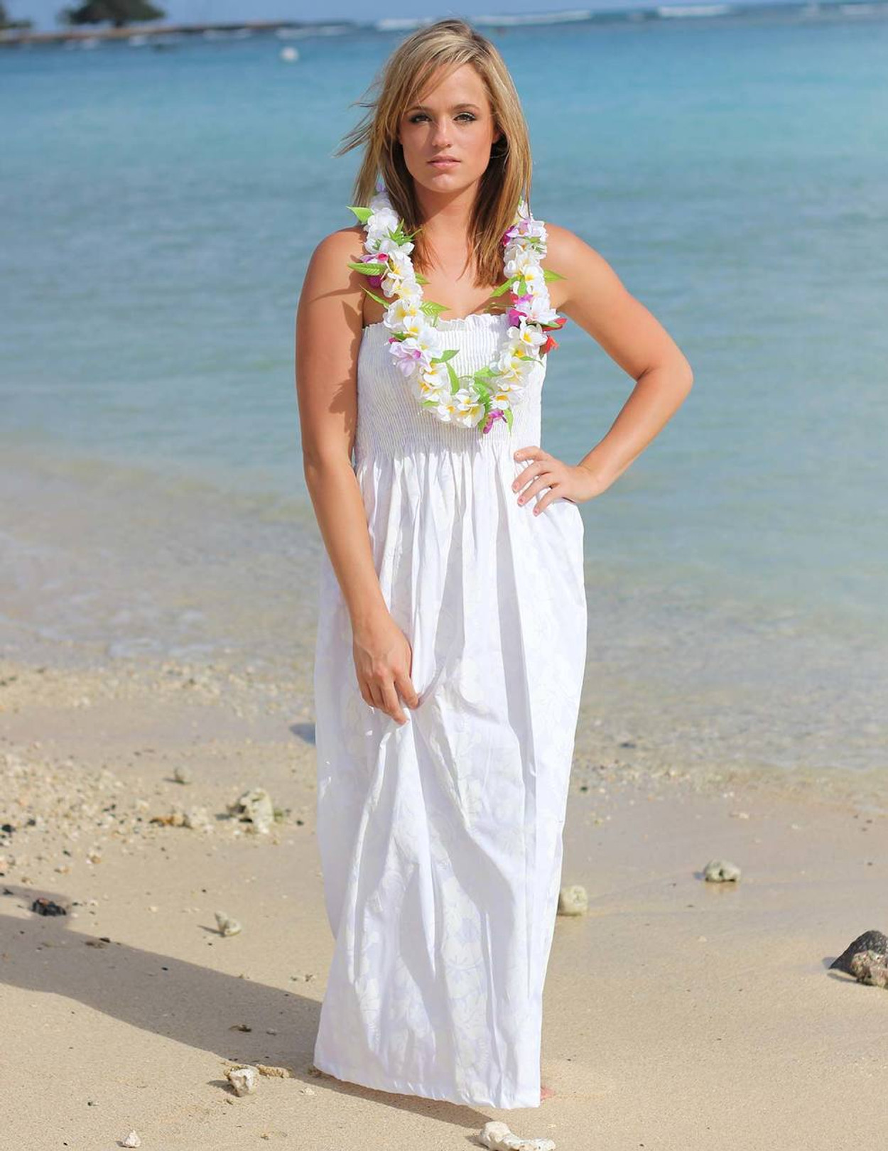 Smocked Top Maxi Hawaiian Wedding Dress