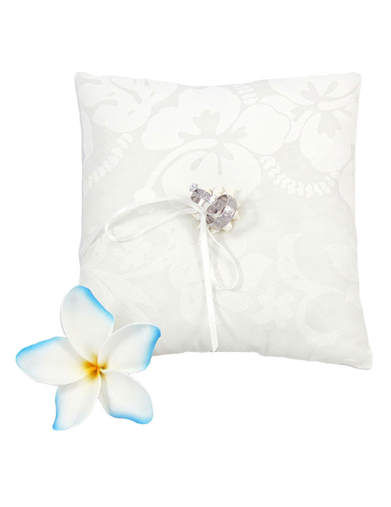 fiver bearer pillow seashells rings poly center ring hawaiian soft spherical ats fill wedding cotton hibiscus w fabric