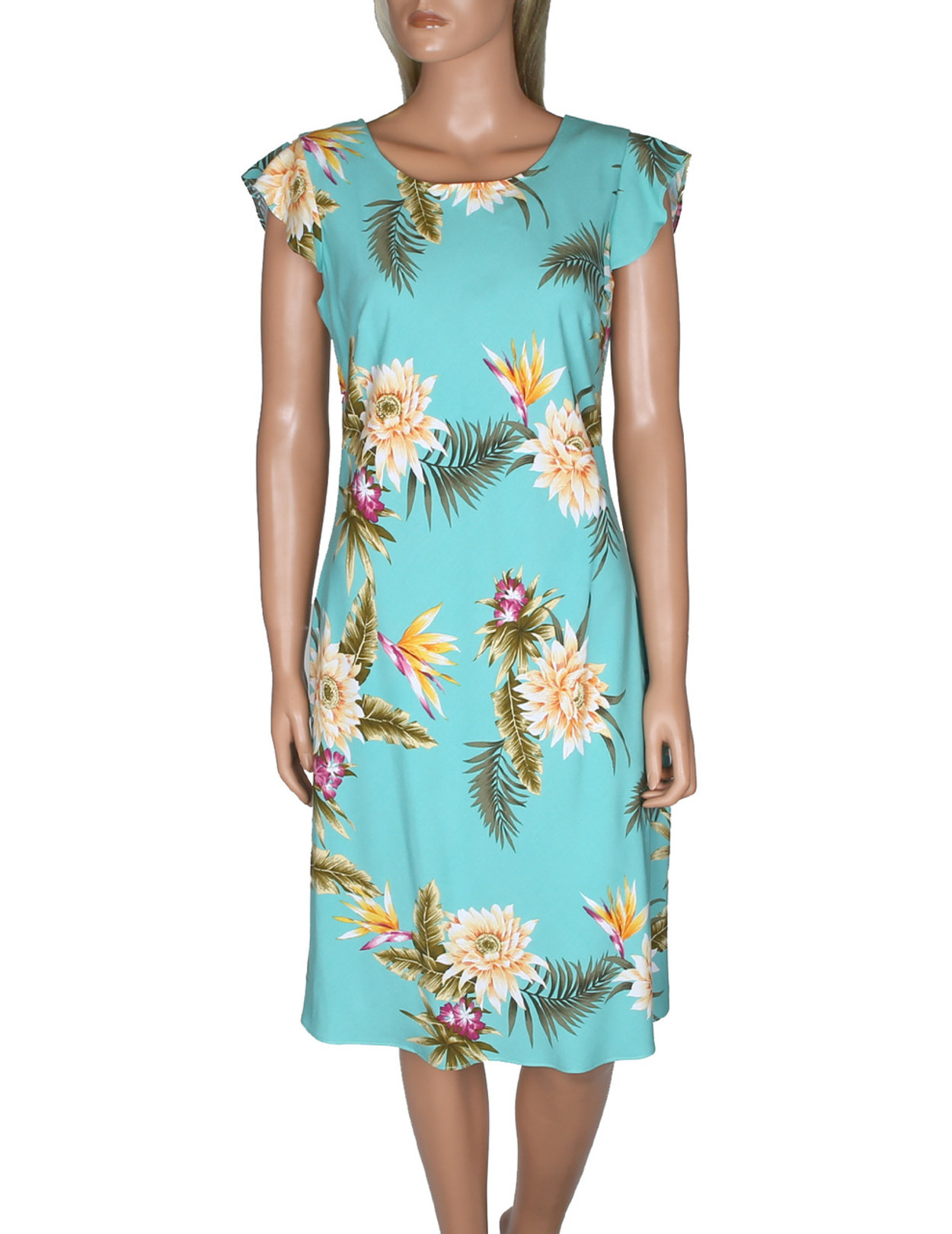 hawaiian dress w sleeves island ceres knee length