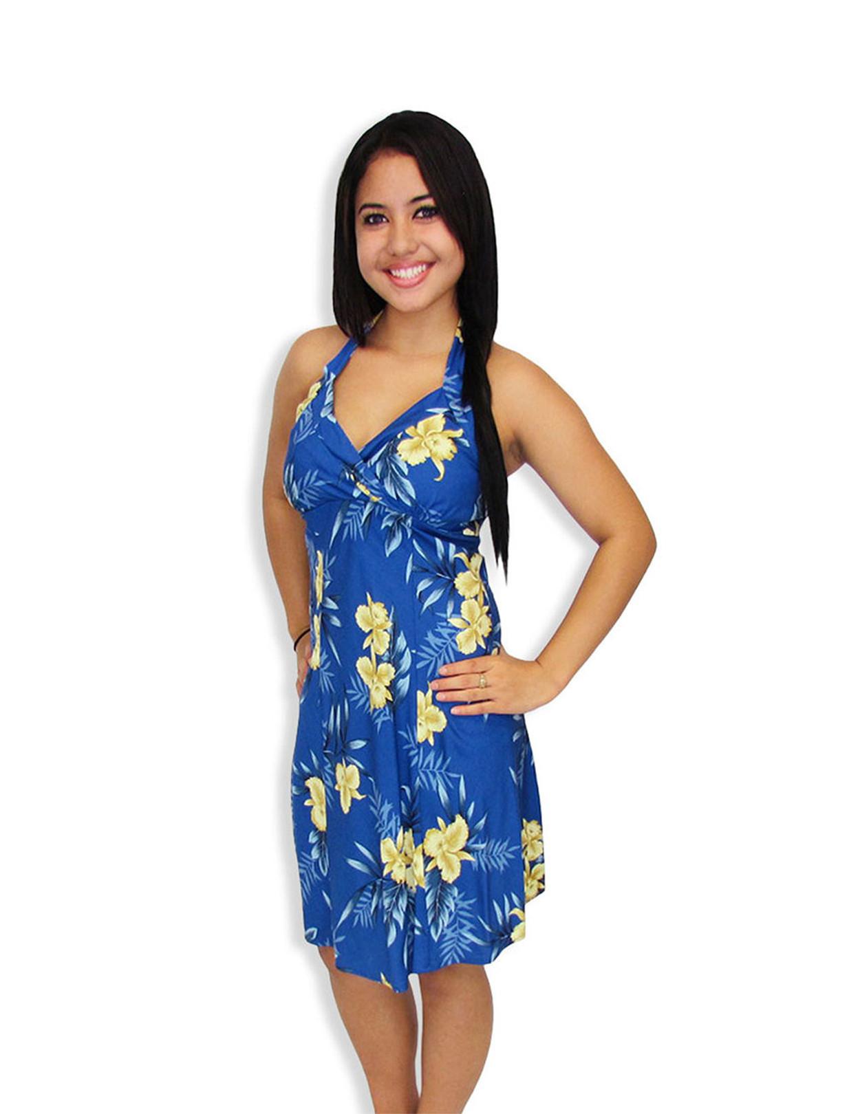 Short Halter Hawaiian Okalani Fashion Dress - Hawaiian Wedding Place