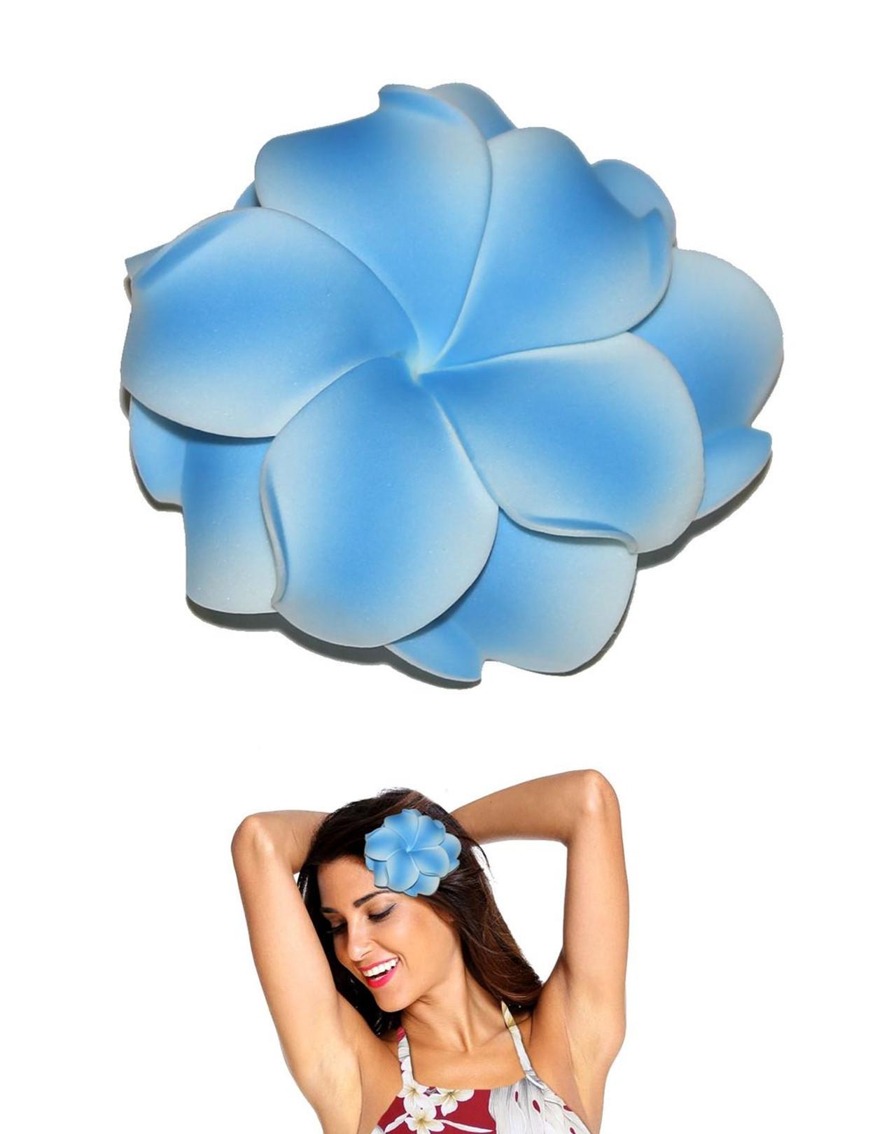 Extra large double plumeria flower hair clip blue hawaiian wedding extra large flower hair clip double plumeria blue tropical flower hair clip design bendable foam izmirmasajfo