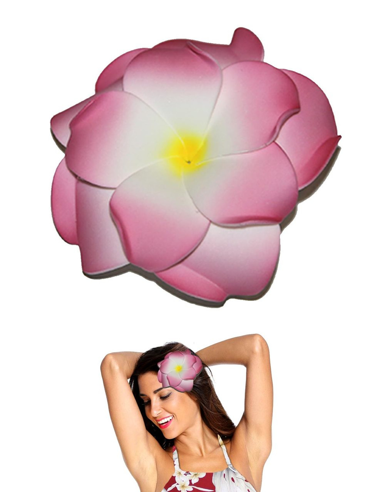 Extra large white pink doupble plumeria flower hair clip hawaiian extra large flower hair clip double plumeria white pink tropical flower hair clip design bendable foam izmirmasajfo