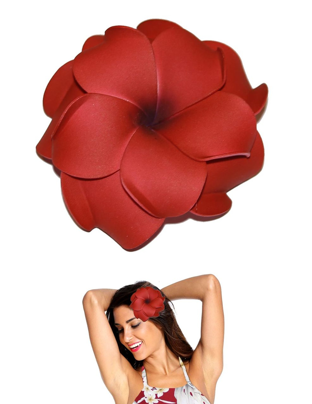 Extra Large Plumeria Double Flower Hair Clip Red Hawaiian Wedding