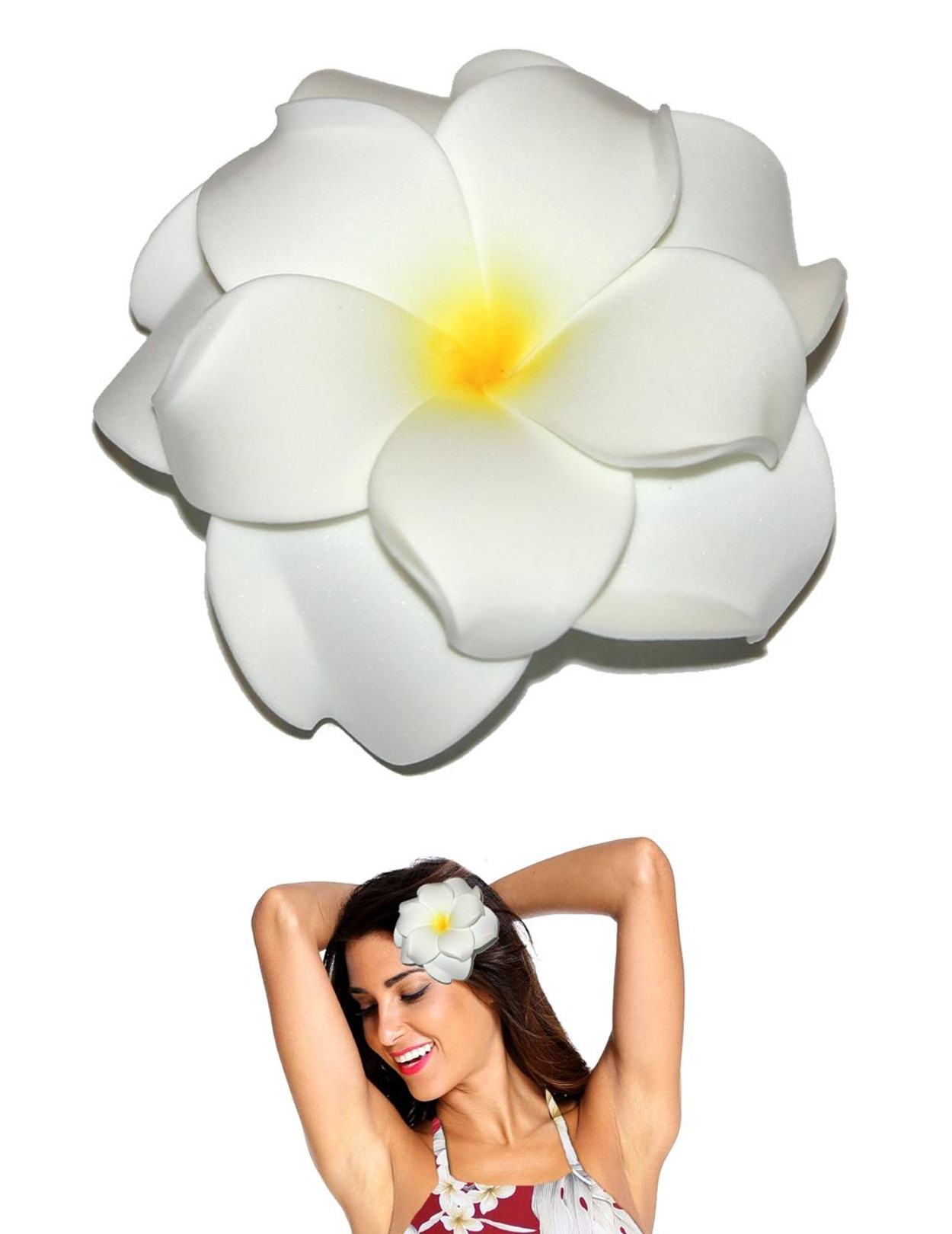 Extra large white flower double plumeria hair clip hawaiian extra large flower hair clip double plumeria white tropical flower hair clip design bendable foam mightylinksfo