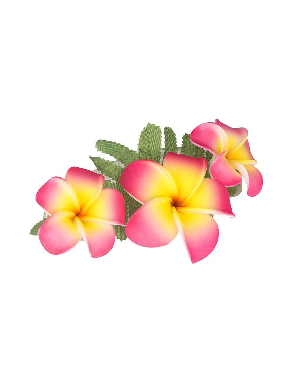3 Plumerias Flower Cluster Pink Yellow Hair Clip Hawaiian Wedding