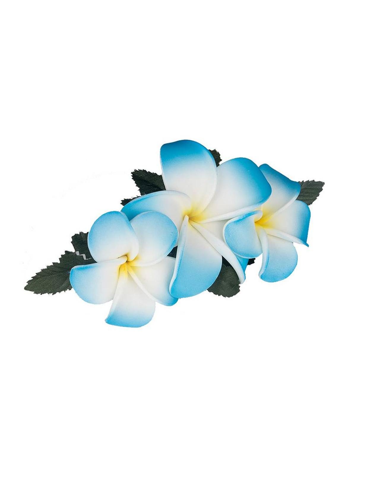 3 Plumeria Flower Hair Clip Blue White Hawaiian Wedding Place