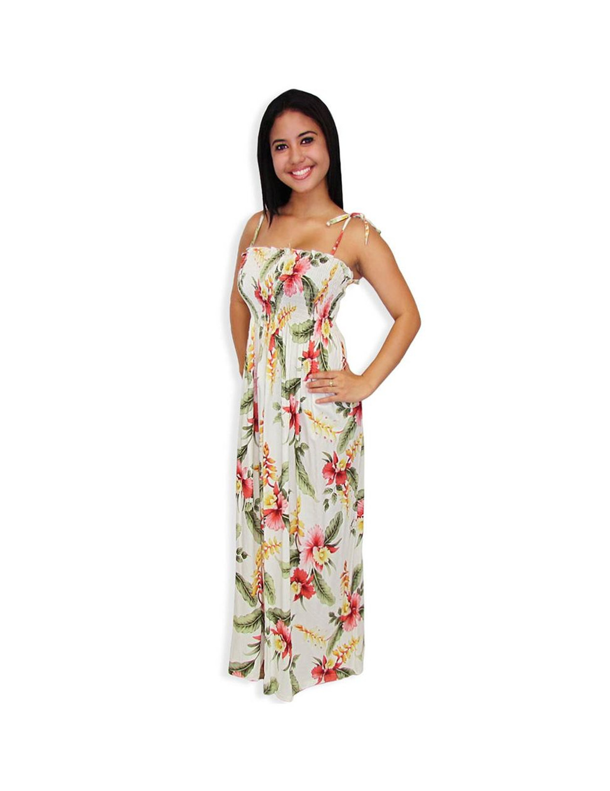 long tube top rayon smock dress orchid pua - hawaiian wedding place