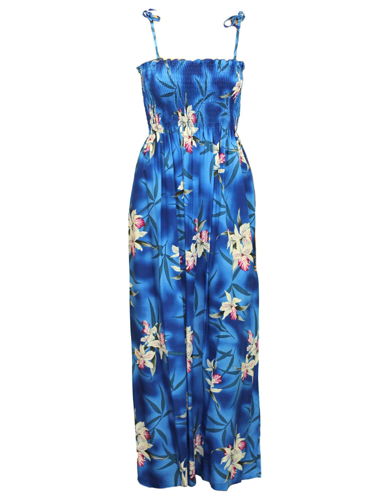Maxi Smocked Rayon Blue Hawaii Dress Orchids - Hawaiian Wedding Place