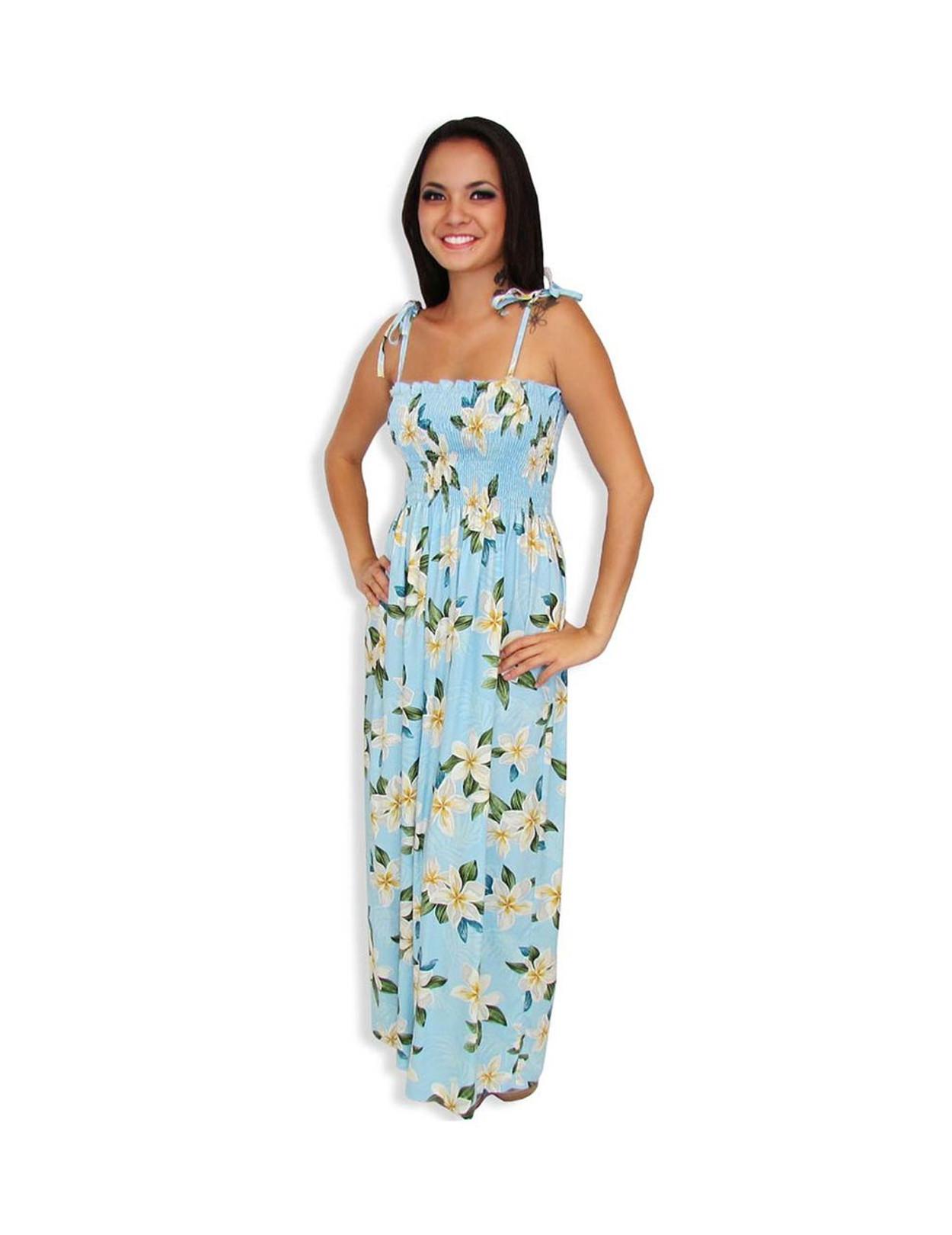 Blue Smocked Long Hawaiian Dress Plumeria Sky - Hawaiian Wedding Place