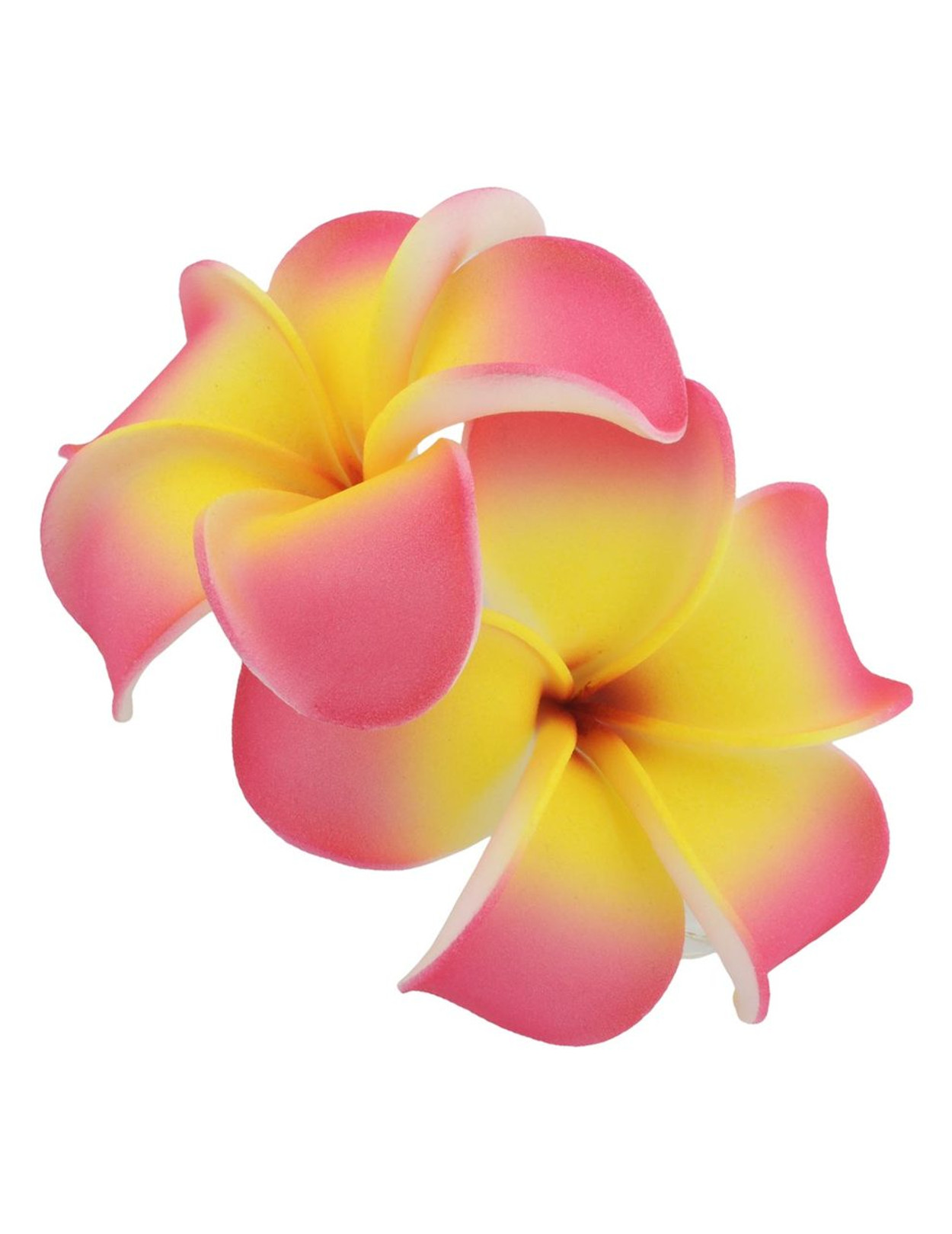2 Pink Yellow Hawaiian Plumeria Flower Hair Clip Hawaiian Wedding