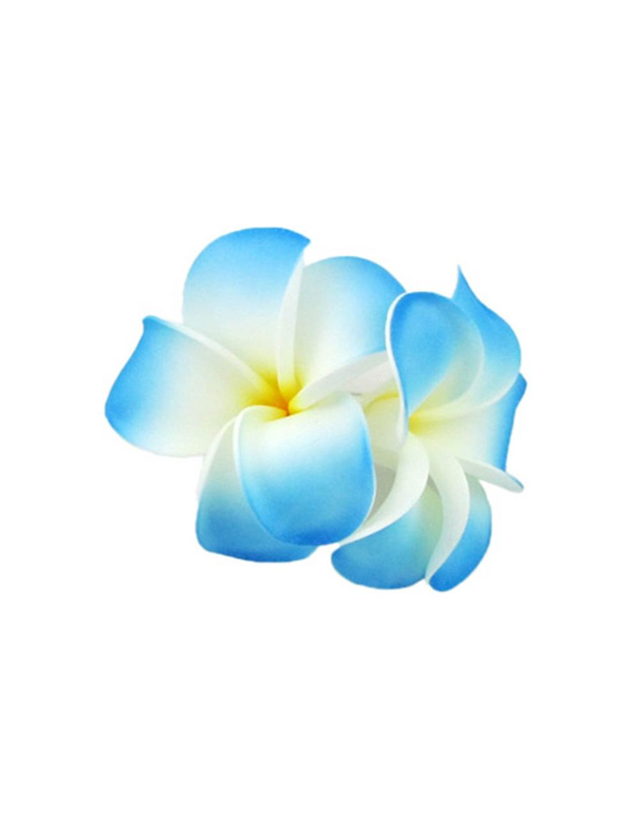2 hawaiian plumeria flower hair clip white blue hawaiian wedding place hawaiian plumeria hair clips 2 large flower cluster white blue perfect for weddings luaus izmirmasajfo Images
