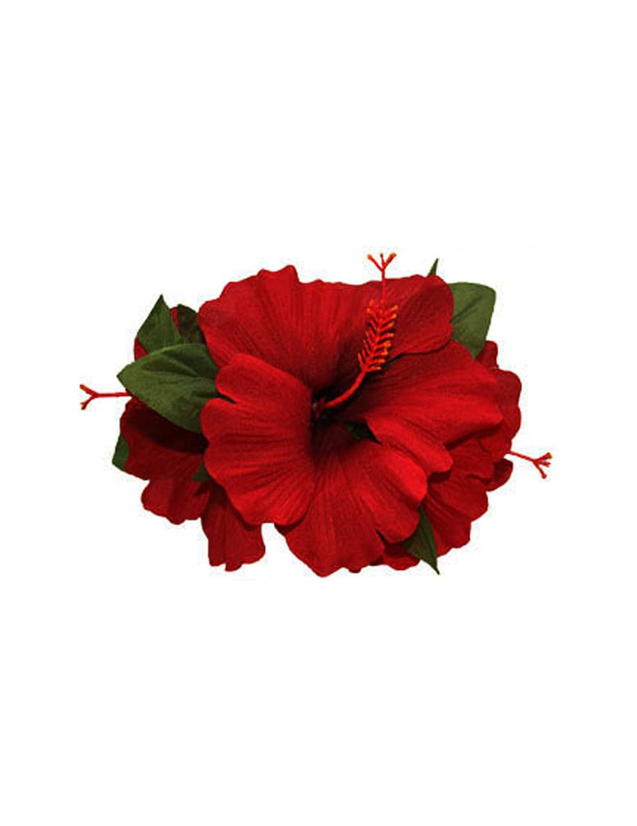 3 Flower Cluster Red Silk Hibiscus Hair Clip Hawaiian Wedding Place