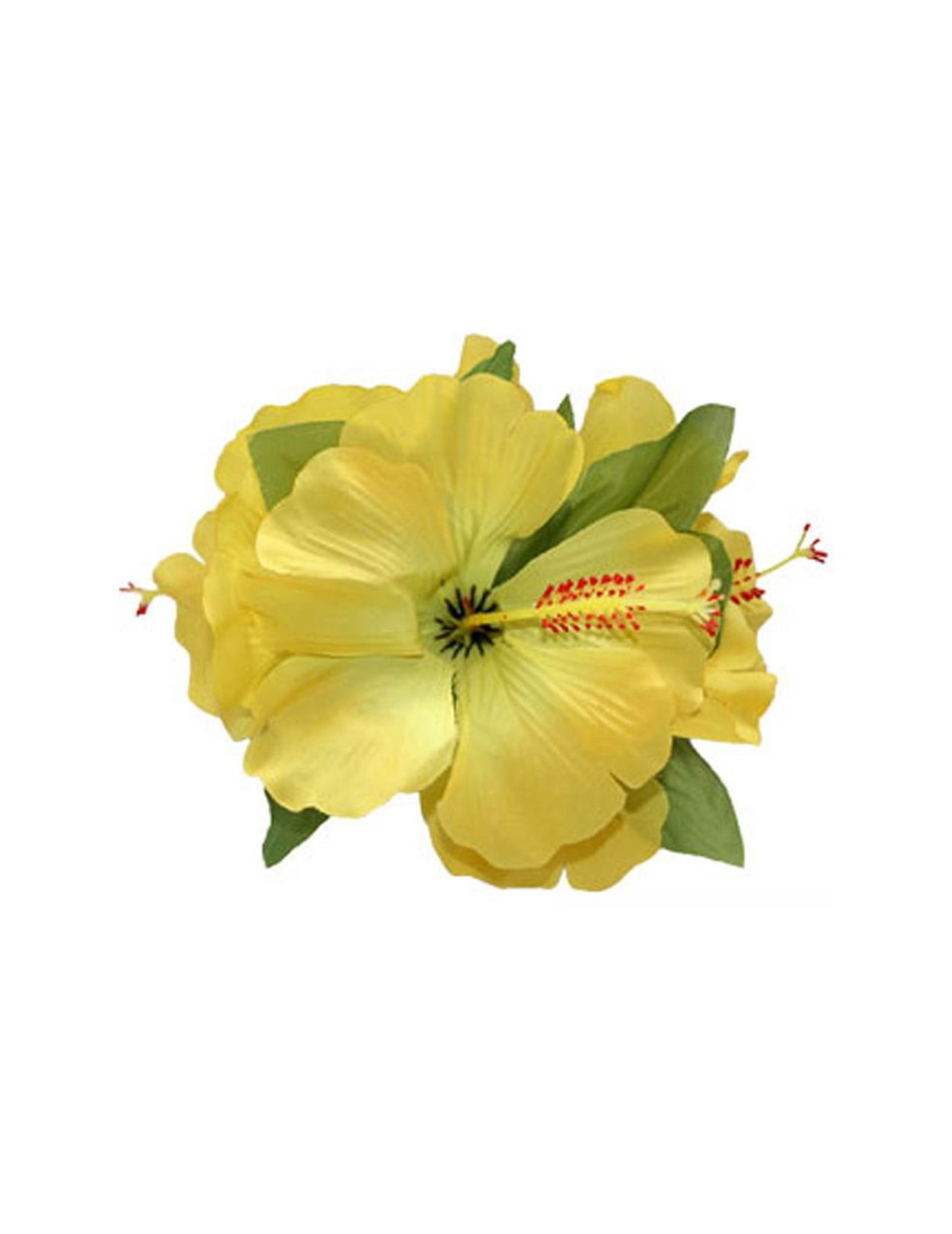 3 Hibiscus Cluster Yellow Flower Silk Hair Clip Hawaiian Wedding Place