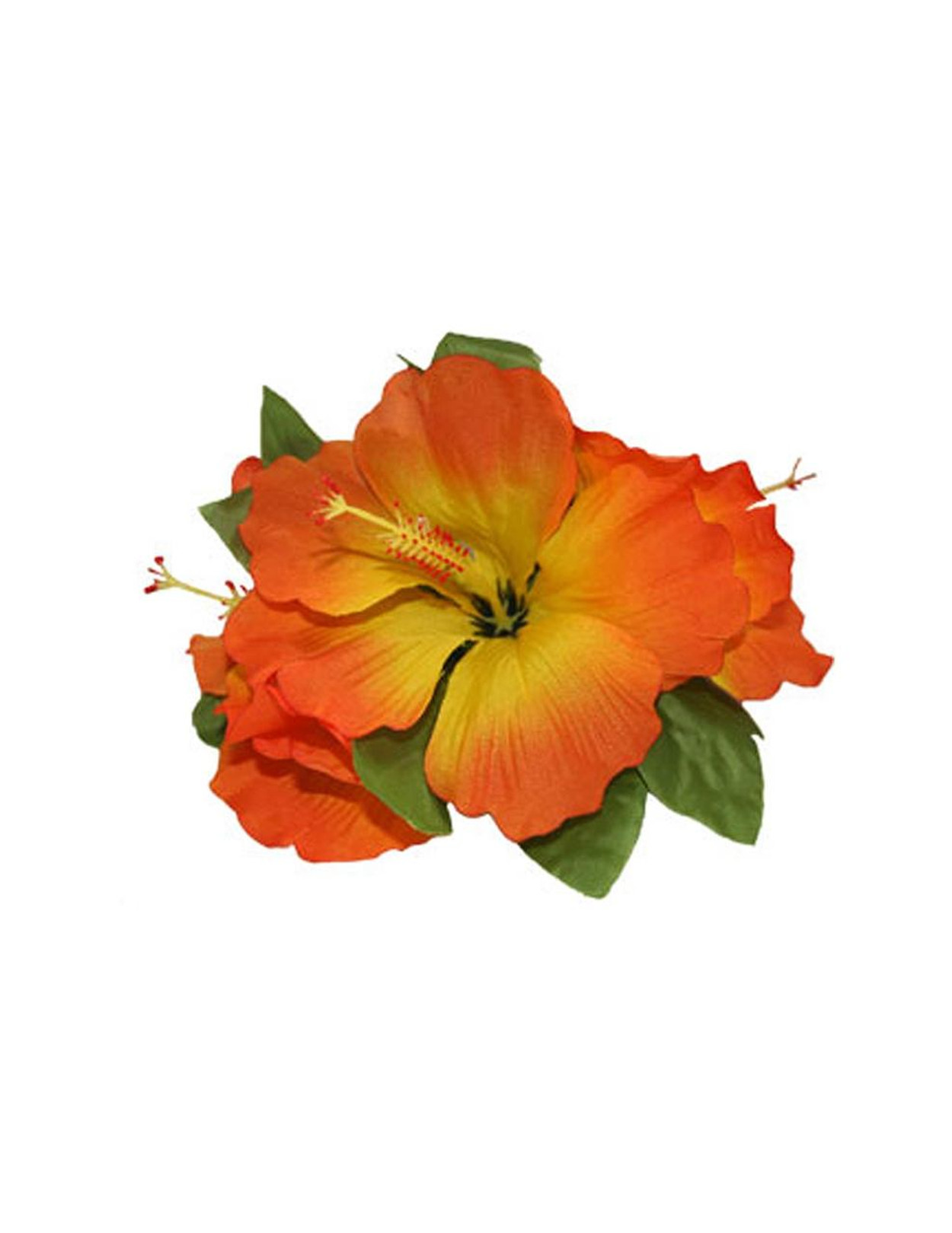 Hawaiian orange hibiscus 3 cluster silk flower hair clip hawaiian 3 cluster hibiscus flower silk flower hair clip orange tropical hibiscus flower hair clip design bendable mightylinksfo
