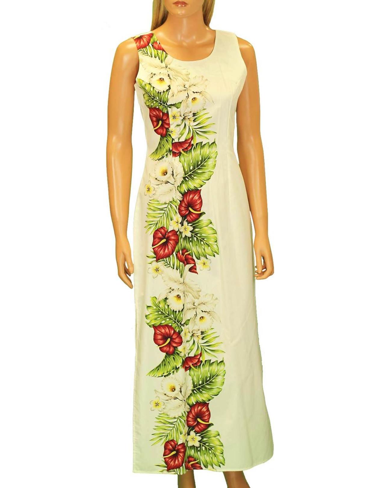 Long Maxi Cocktail Hawaiian Dress Alika - Hawaiian Wedding Place