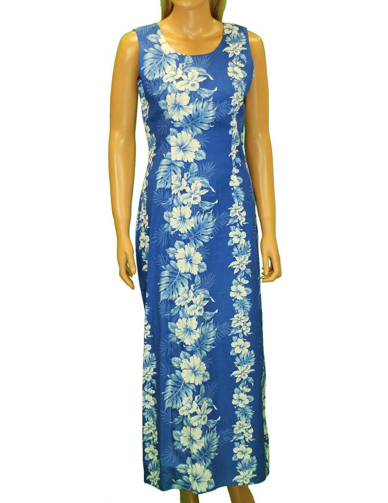 Long Tank Hawaiian Royal Blue Dress Haku Laape - Hawaiian Wedding Place