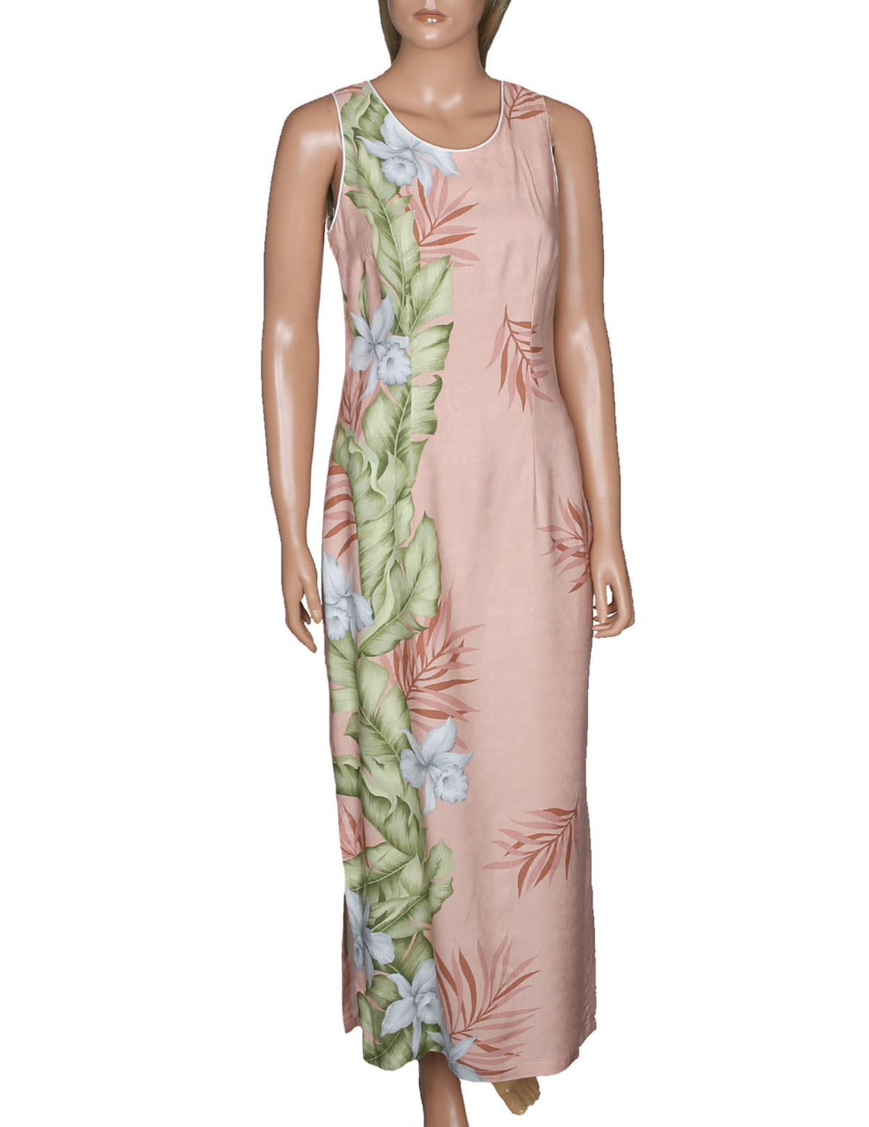 Maxi Long Cocktail Floral Dress White Orchids - Hawaiian Wedding Place
