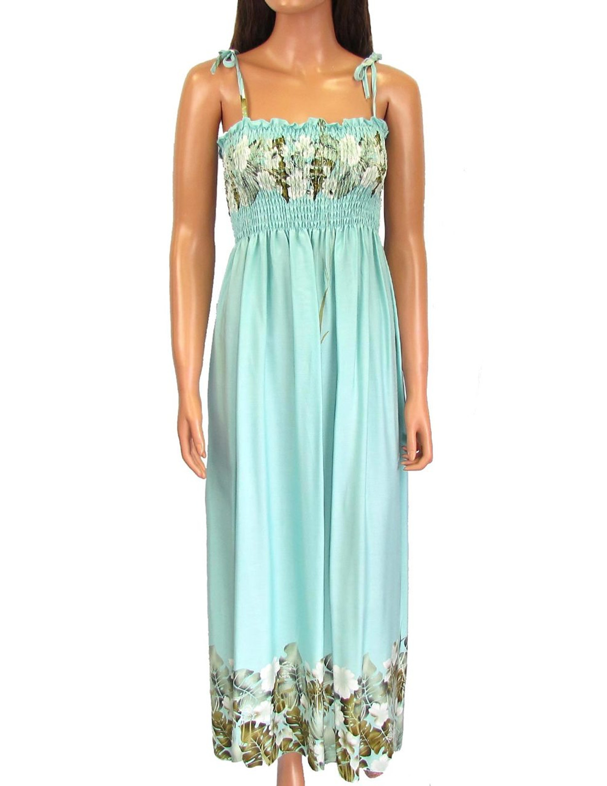 Hawaiian Aqua Dress Maxi Long Smock Top Mahea Design - Hawaiian ...