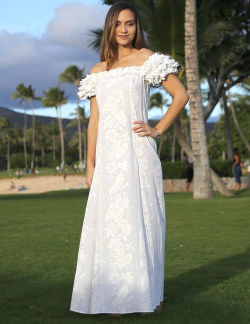 Maxi Smocked Top Long Hawaiian Wedding Dress - Hawaiian Wedding Place