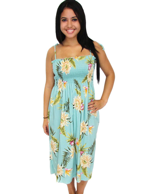 153d8f22425 Midi Rayon Hawaiian Smocked Dress Island Ceres 100% Rayon Fabric Color   Green Length