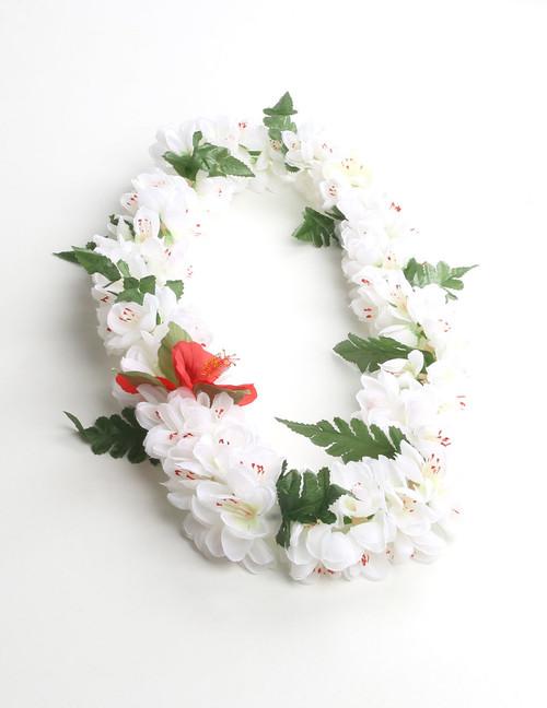 Hawaiian leis tinsel leis flower headbands hawaiian wedding place white shell ginger silk flower lei silk hibiscus flower accent durable long lasting silk mightylinksfo Images
