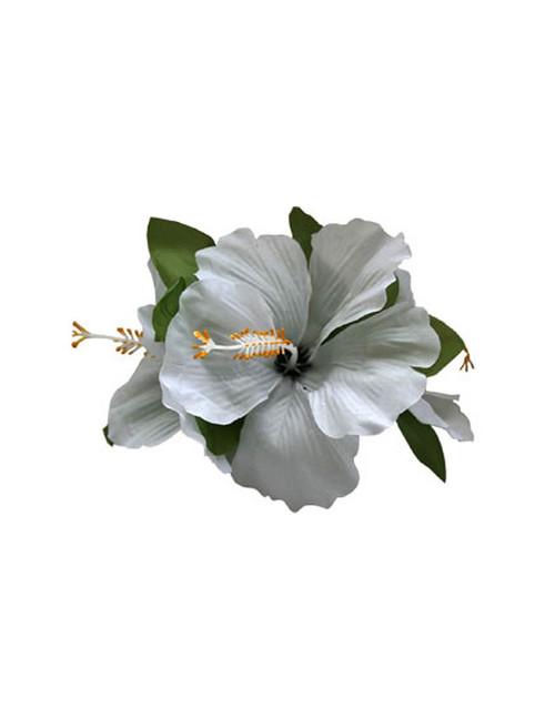 Flower hair accessories hawaiian wedding place 3 silk white hibiscus flower hair clip mightylinksfo