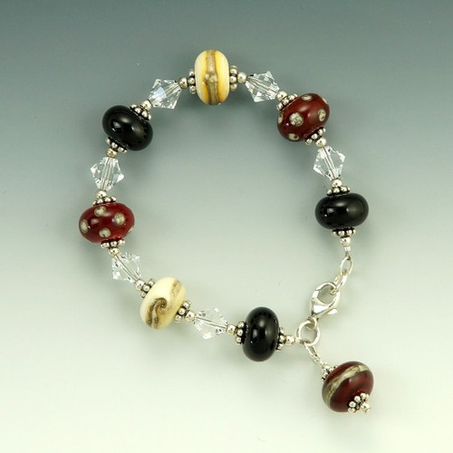 Classic Red, Black and Ivory Bracelet