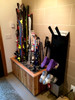 freestanding ski rack made from cedar wood