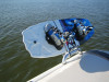 A wakeboard rack for boats without a tower