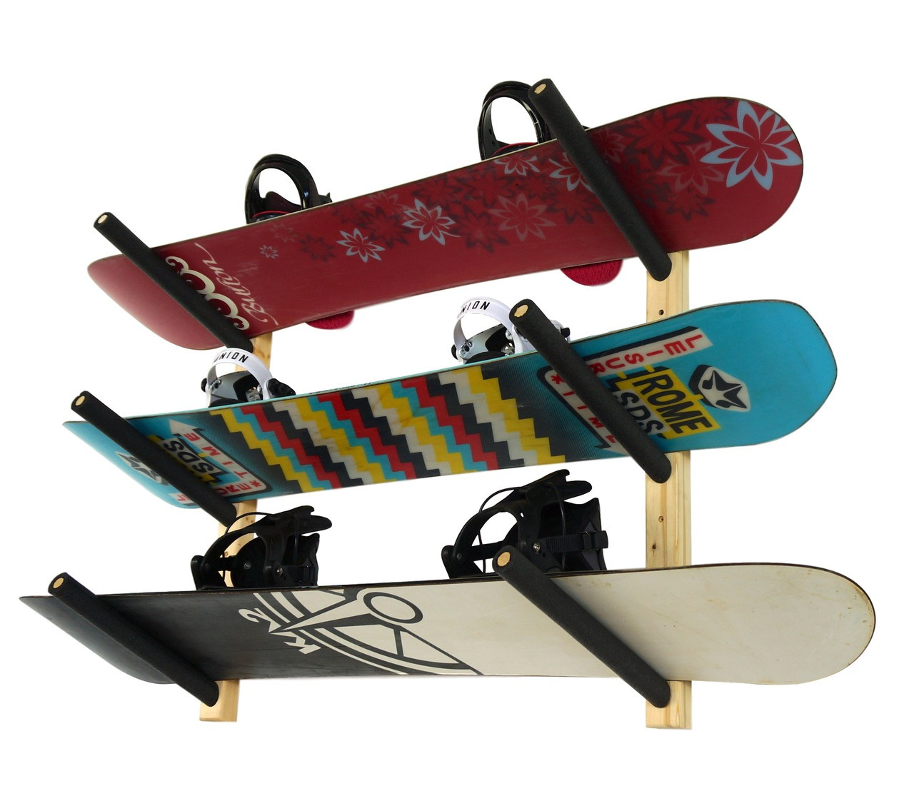 wood snowboard wall rack