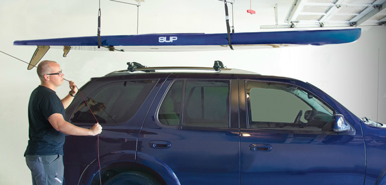 SUP ceiling hoist - over head paddleboard storage