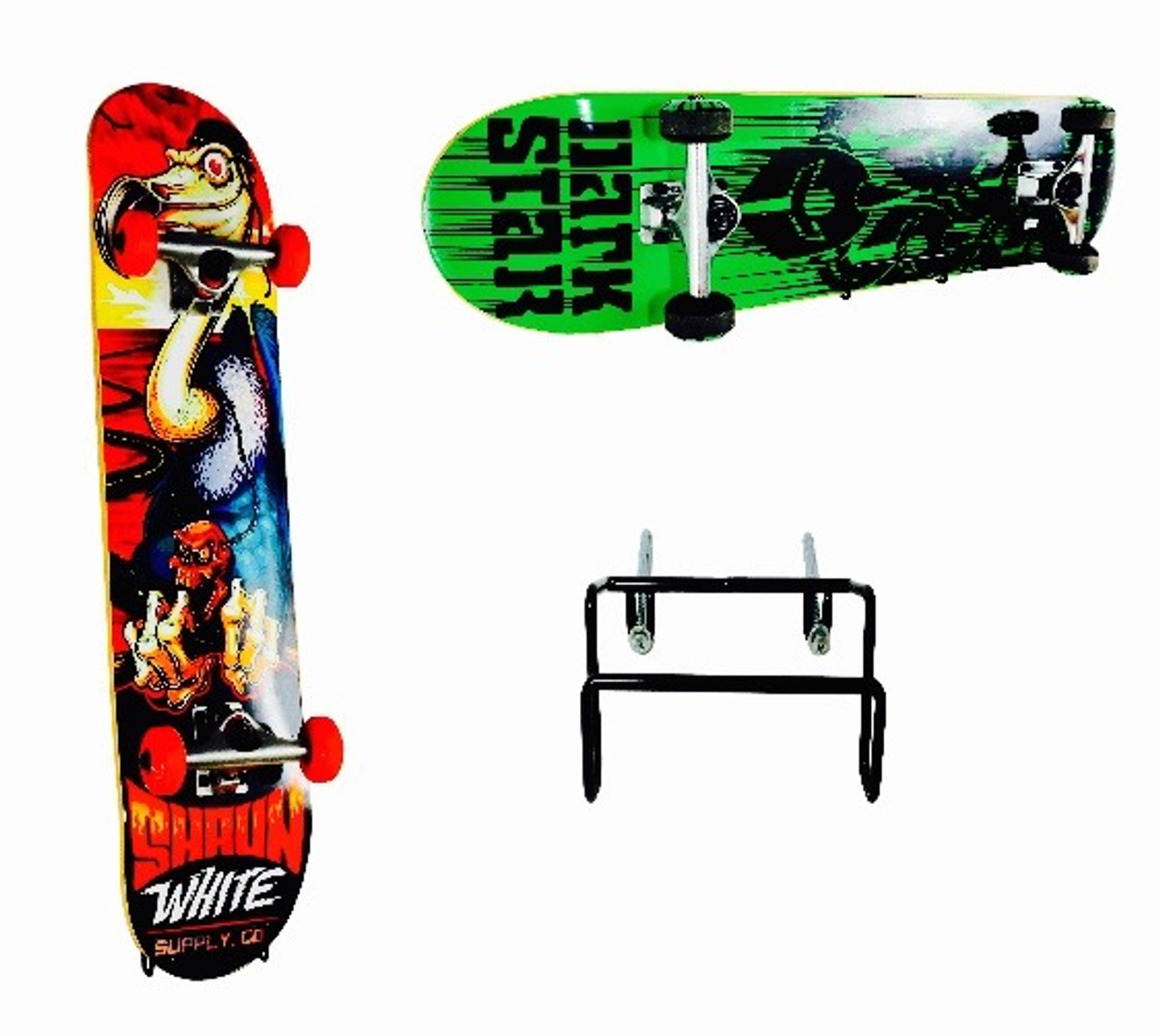complete skateboard vertical or horizontal wall rack