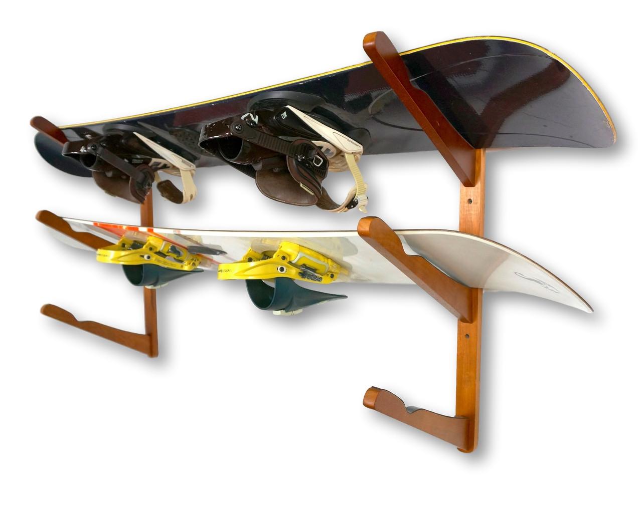 wood snowboard storage rack