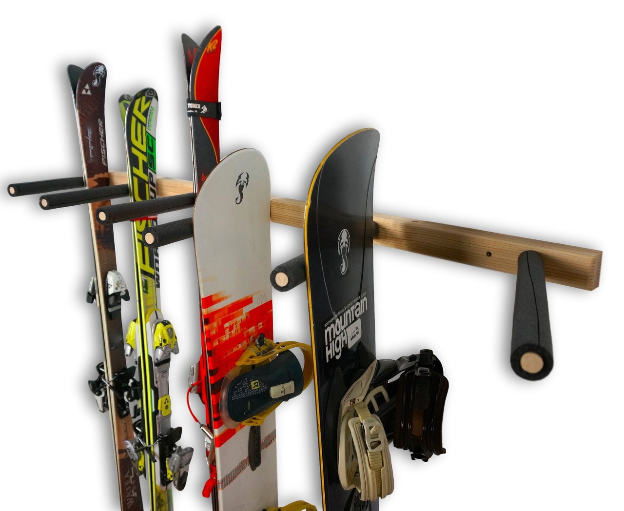 Vertical Ski And Snowboard Wood Wall Rack 3 6 Or 9