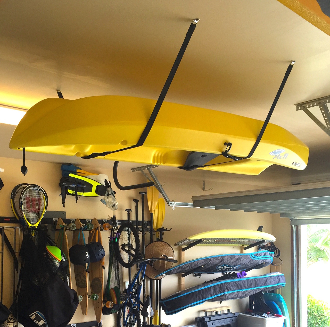rack outdoors kayak com dp overhead ceiling sports system lift garage storage amazon hoist rope canoe