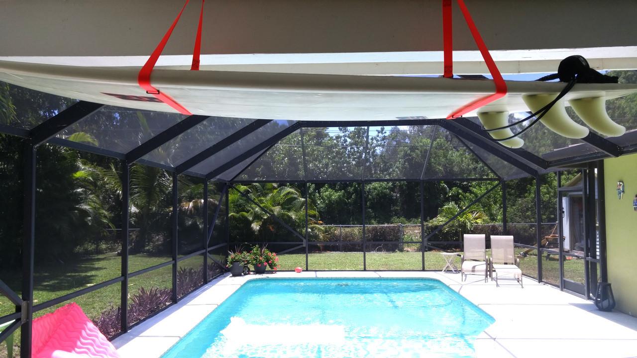 Kayak Wall Hanger >> Surfboard Hi-Line | Adjustable Ceiling Surf Hanger ...