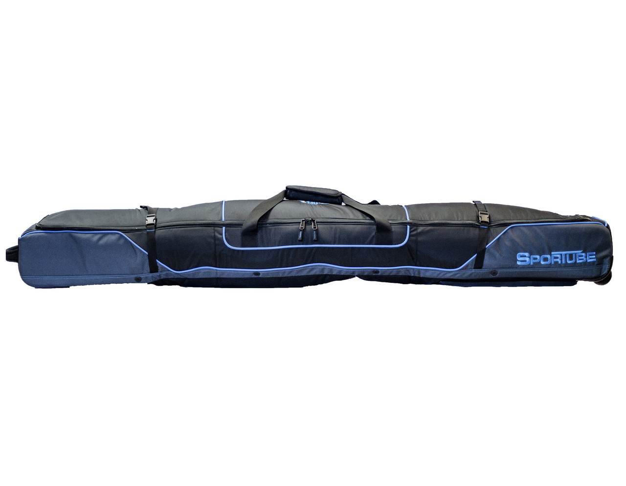 blue padded ski travel bag