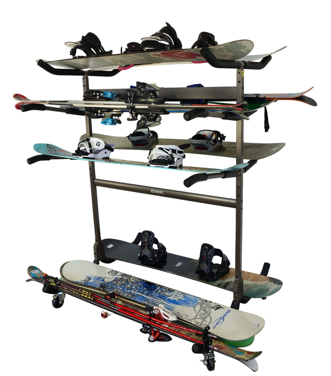 freestanding ski and snowboard rack