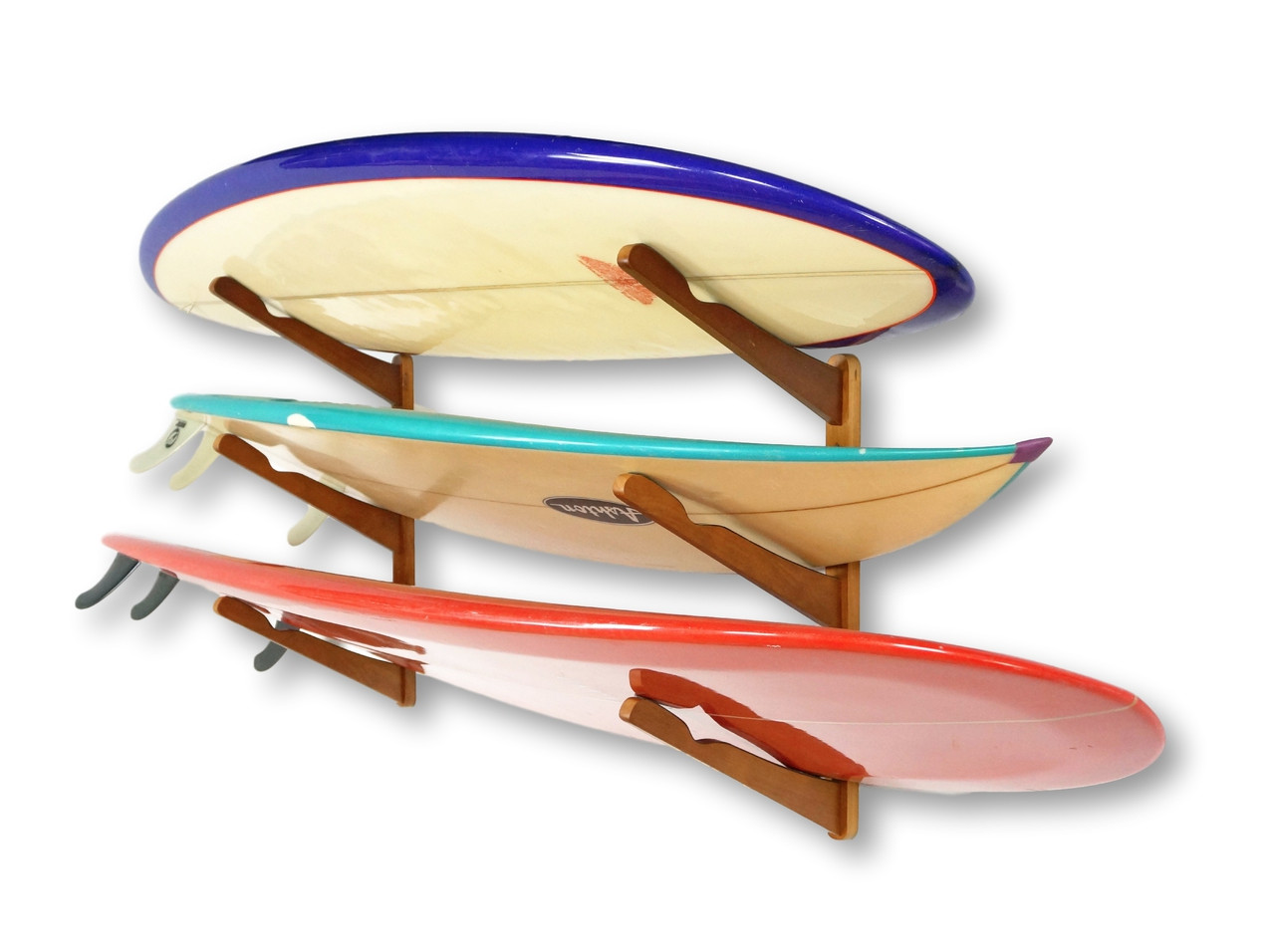 Wood surfboard rack