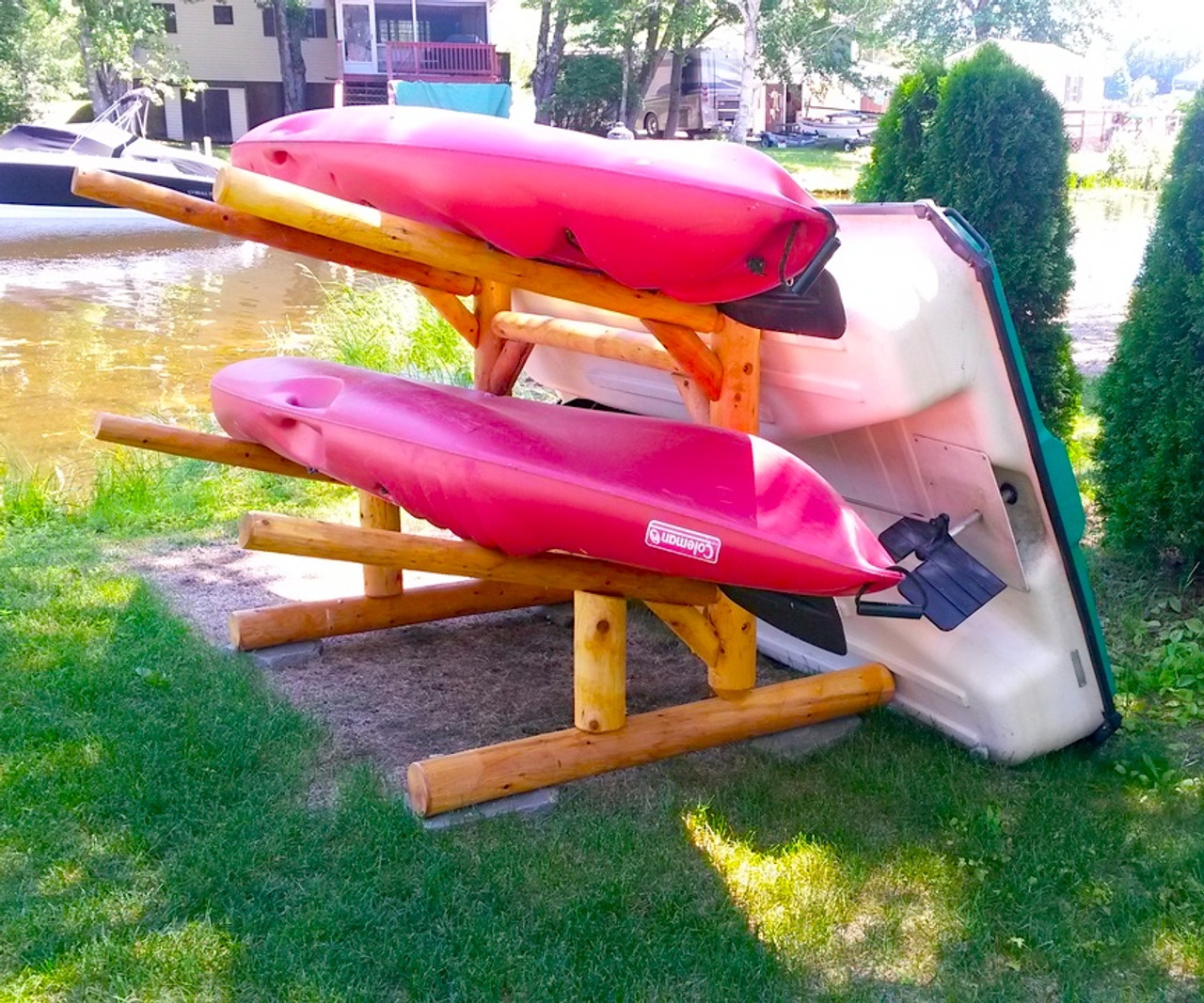 Kayak, SUP and Canoe One-Sided Log Rack | Fits 2 or 3 Boats