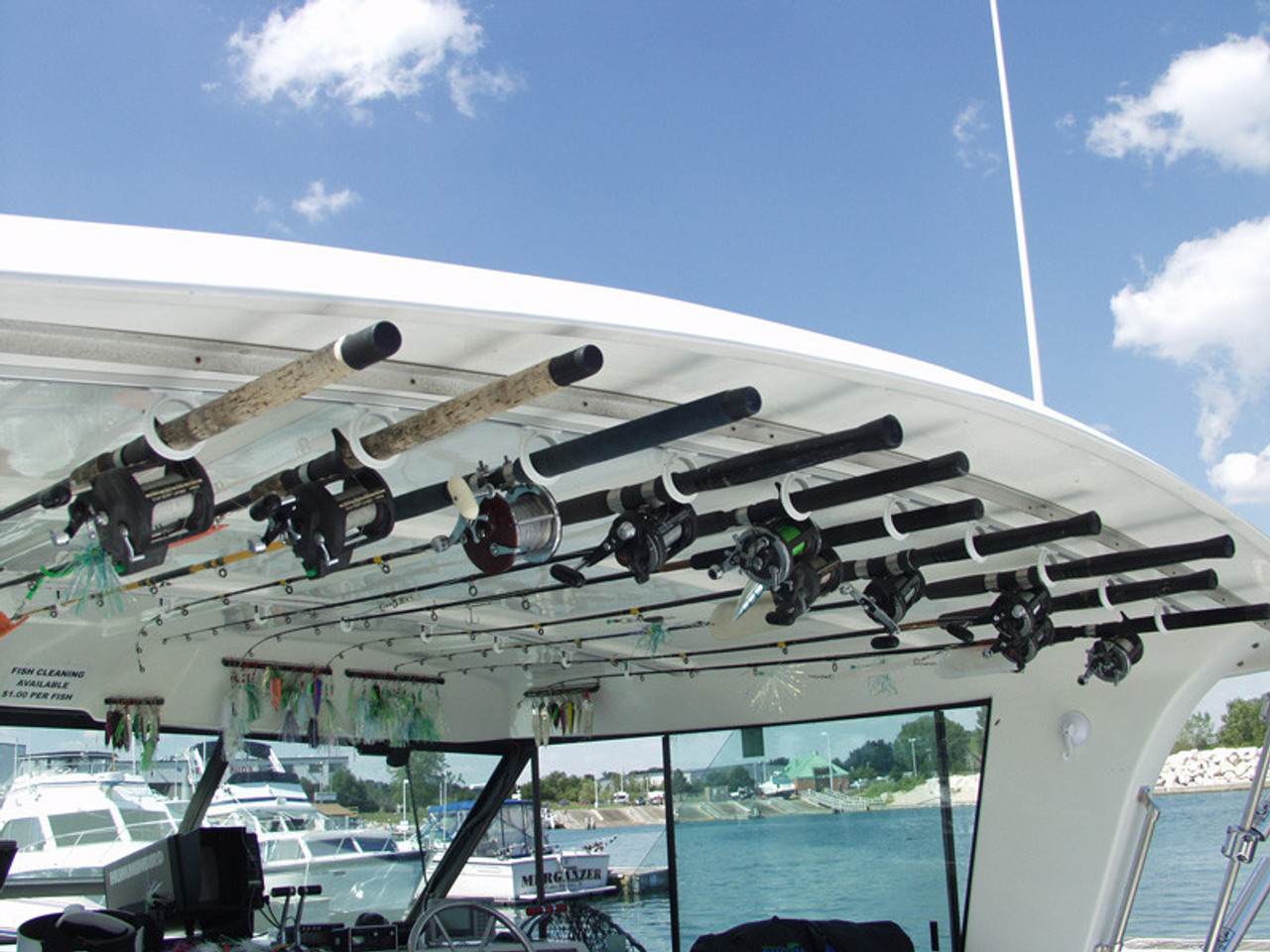 boat fishing rod rack