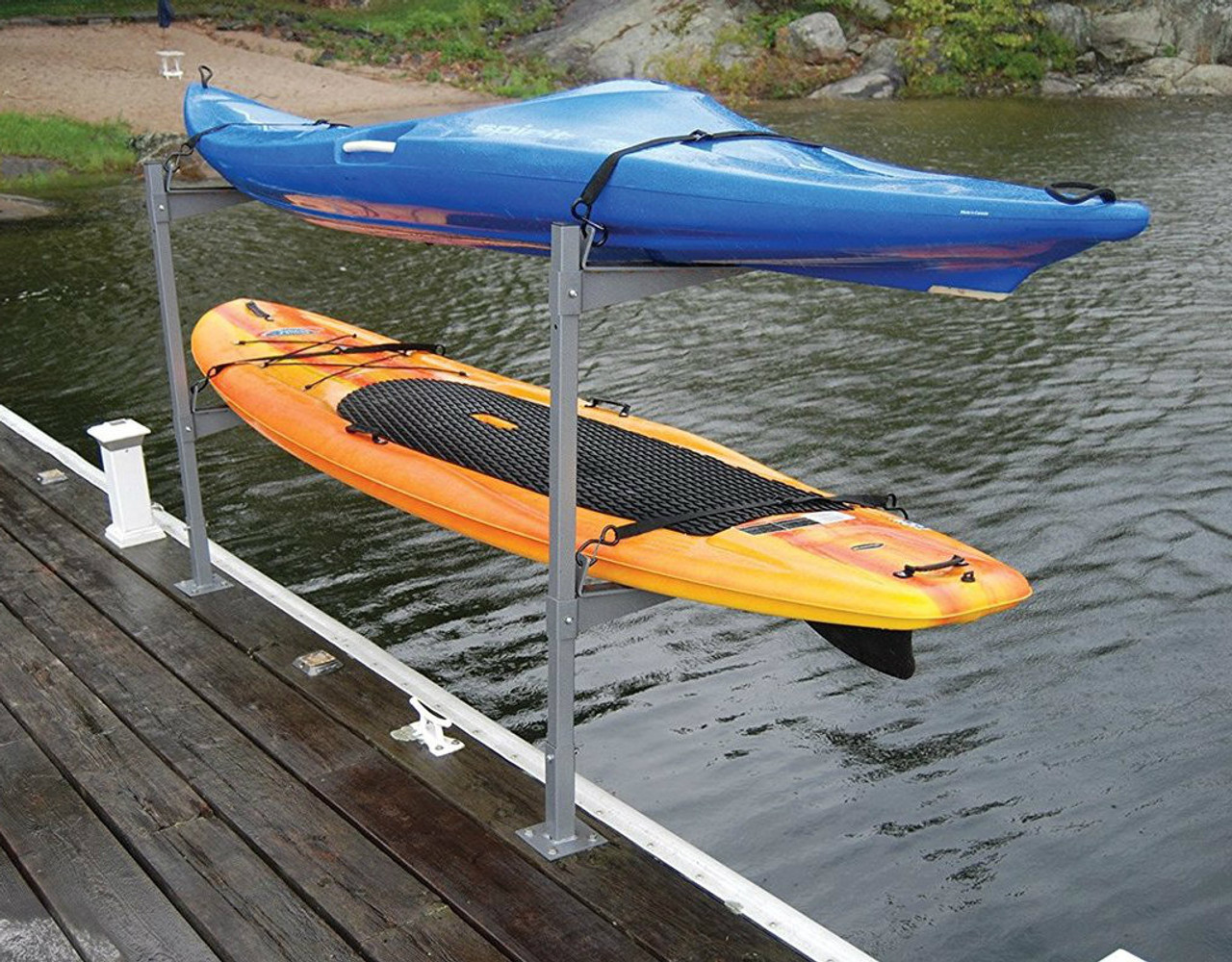 2 kayak or sup dock rack stores boats over the water for Boat garage on water