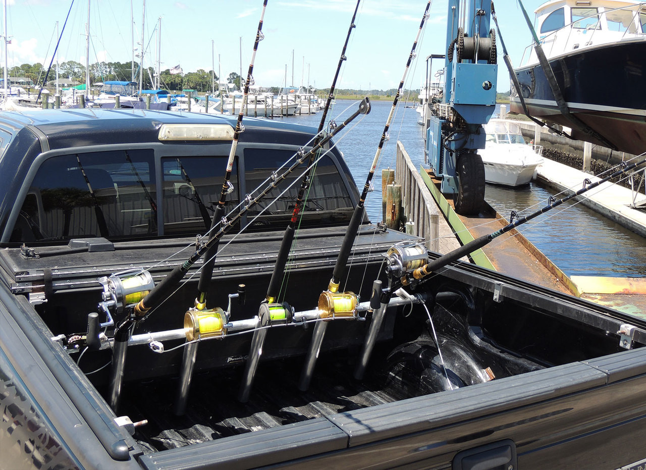 Offshore Truck Bed Fishing Rod Rack   Pressure Mount   Holds up to 5 Rods
