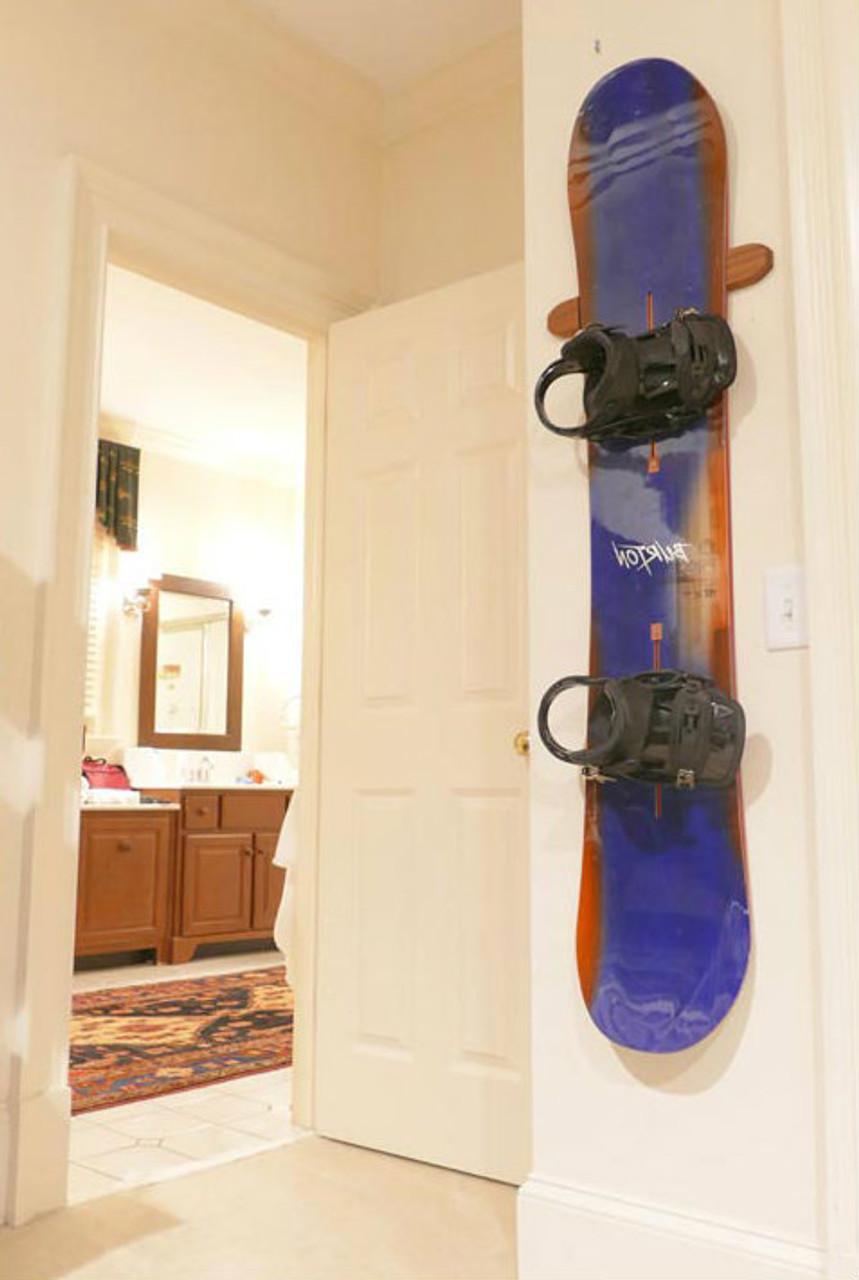 Indoor Snowboard Display Wall Rack | Solid Cherry Wood