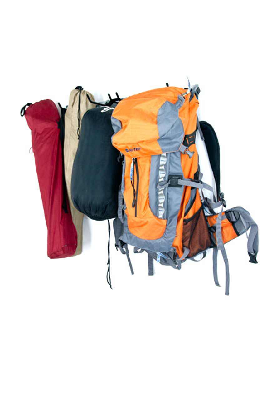Camping Gear Rack Backpacks Sleeping Bags And Tents